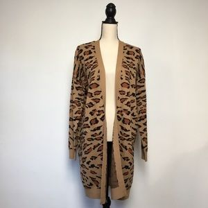 Splendid Long Leopard Open Cardigan